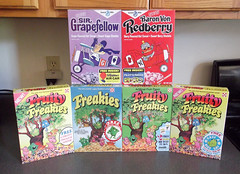 Beautiful Reproduction Cereal Boxes Fruity Freakies Grapefellow Redberry (gregg_koenig) Tags: old bike vintage sticker general box von cereal freaky mini flags sugar figure 70s boxes 1970s sir mills figures fruity reproduction goody ralston baron redberry repro ironons freakies freakie grapefellow snorkeldorf