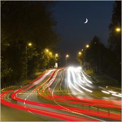 Redbridge Causeway - Rush hour (Maw*Maw) Tags: moon cars night photoshop canon eos lights traffic trails busy 7d cs6