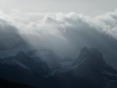 Grotto Creek Trail - Anklebiter Ridge Hike - Zoom shot west of atmospherics (benlarhome) Tags: canada clouds trekking trek kananaskis hiking wolken hike alberta nubes nuages wandern cloudscapes nwn exshaw grottocanyon grottomountain grottocreek grottopond gnneniyisithebestofday anklebiterridge