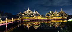 Pavilion of the enlightened at Ancient Siam in Thailand (Hatoriz) Tags: park city travel lake reflection building tree green heritage tourism water architecture night river landscape thailand religious temple ancient asia buddhist traditional famous religion culture kingdom buddhism landmark palace tourist holy exotic reflect thai destination ayuthaya pavilion sight eastern siam authentic enlightened muang boran prasat sanphet