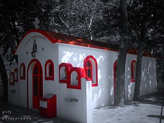 red little church in the forest...
