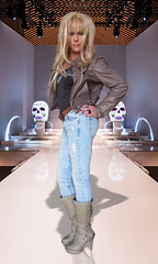 The Catwalk called life... (Irene Nyman) Tags: show blue cute leather fashion monster boots babe jeans jacket blonde denim irene crossdresser catwalk stiefel nyman travestiet