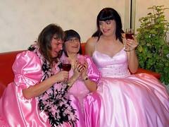 Girlish fun with friends (Paula Satijn) Tags: pink ladies girls friends party girl fun dress wine silk skirt tgirl transvestite gown satin ballgown