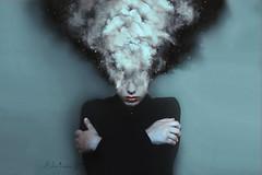 [40] Overthinker (Silvia Travieso G.) Tags: black girl dark lost smoke fear explosion nightmare embrace daydream overthink mindblow silviatravieso letsgetcreative2014