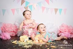 Cake Smash: Amalia and Sophie (KateDphotography) Tags: birthday lighting baby girl cake smash child photoshoot messy