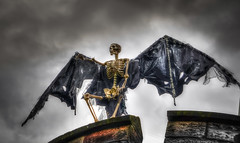 The Tower Guardian (Will Gell) Tags: tower castle halloween garden skeleton scary nikon winged tamron hdr dirleton 1750mm d7000