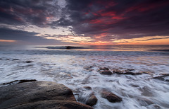 Seascape (Callaghan69) Tags: uk longexposure sea seascape motion beach water clouds sunrise landscape coast seaside scenery rocks waves colours northumberland coastal le northsea slowshutter sandybay northeastengland newbigginbythesea tokina1116 nikond7100