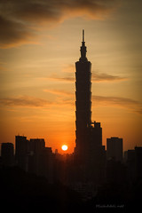 虎山夕照 Mt.Tiger Sunset (MichAdel) Tags: sunset sun building landscape taiwan 101 taipei goldenhour shinyi