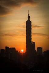 Mt.Tiger Sunset (MichAdel) Tags: sunset sun building landscape taiwan 101 taipei goldenhour shinyi