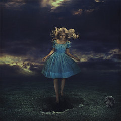 the rabbit hole (brookeshaden) Tags: lighting selfportrait rabbit bunny girl field jumping brooke falling fairy innocence aliceinwonderland storytelling compositing bluedress shaden therabbithole conceptualphotography fineartphotographer fairytalephotography brookeshaden