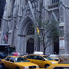 Drop Me Off At St. Pat's (MPnormaleye) Tags: street nyc urban cars church yellow square catholic traffic cathedral metro manhattan cab taxi patrick neighborhood midtown utata autos crowds