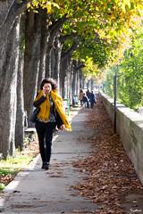 La marche Jaune (Barthmich) Tags: street trees paris yellow jaune walking photo nikon women photographie femme young arbres rue  lightroom jeune      marchant   d3100