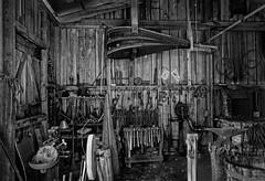 Tools of the trade (Ed Rosack) Tags: blackandwhite bw usa fireplace florida tools explore blacksmith bellows centralflorida barberville edrosack modernmonochromecourseatcrealde