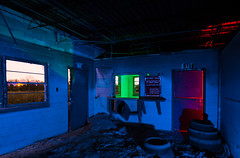 Safety Is No Accident (GnarlyRelics) Tags: door longexposure nightphotography blue light shadow red urban lightpainting building green fall abandoned broken window sign night painting photography dallas office unsafe nikon long exposure paint fort accident decay urbandecay flash tire safety tokina falling explore torch forgotten urbanexploration flashlight worth cave dfw safe exit busted exploration rgb fell f28 abandonment strobe apart foreman lightpaint d7100 1116mm fortworht