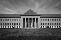 Imposing (Subversive Photography) Tags: school windows blackandwhite bw building abandoned monochrome architecture race training germany children decay nazi wwii ss atmosphere symmetry urbanexploration ww2 soldiers derelict cadets urbex napola hitleryouth danielbarter