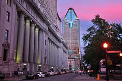 Pastel city nights, Montreal, Quebec (John Prior 55) Tags: classic architecture modern clouds buildings skyscrapers quebec montreal cities parks sunlifebuilding dorchestersquare ruemetcalfe pastelskys 1000ruedelagauchetierre montrealstallestbuilding