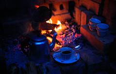 Evening tea (aminah51) Tags: fire tea evening ethiopian cup teacups feu