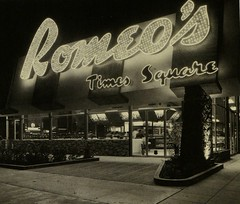 Romeo's Times Square - Los Angeles, CA - Sign by Electrical Products Corp. (hmdavid) Tags: sign electricalproductscorp neon vintage googie book zeon alanhess romeos times square restaurant losangeles armet davis 1950s coffeeshop