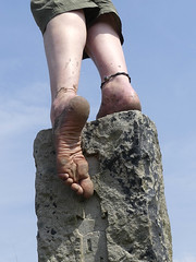 Balancing act! (Barefoot Adventurer) Tags: barefoot barefooting barefeet barefooter baresoles barefoothiking barefooted barfuss blacksoles anklet wrinkledsoles toughsoles texture toes ruggedsoles grounded nature naturallytough naturalsoles strongfeet soles stainedsoles stones earthsoles earthstainedsoles earthing connected callousedsoles livingleather leathersoles fun flexiblefeet