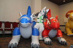Posing (Raccoon with film) Tags: blfc biggest little fur con 2015 fursuit squeaky inflatable balloon