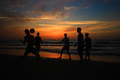 Playing tha ball at sunset - Tel-Aviv beach (Lior. L) Tags: playingthaballatsunsettelavivbeach playing ball sunset telaviv beach telavivbeach israel silhouettes action actionphotography travel travelinisrael sky clouds cloudysunset