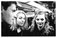 Underground (JamesAlexanderThorne) Tags: olympus trip 35 london england underground light faces girls boy blackwhite ilford film