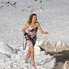 Dressed for a wedding but too good a photo op (vambo25) Tags: cumbria snow kirkstonepass whitewedding wedding summerdress