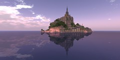 Mont Saint Michel Reflections (ErikoLeo) Tags: flickrlovers landscape firestorm secondlife secondlife:region=montsaintmichelsecondlifeparceledelweisslemontsaintmichelsecondlifex154secondlifey25secondlifez21