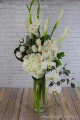 IMG_4785-2 (Garden Party Flowers) Tags: allwhite calla cotton elegant florist flowers gladiola hydrangea phalenopsis tallarrangement vancouver