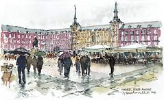 Madrid. Plaza Mayor. (P.Barahona) Tags: urbano madrid lluvia paraguas toldos gente arquitectura plaza edificios
