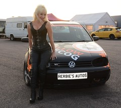 Jackie & VR6 389 (Fast an' Bulbous) Tags: long blonde hair girl woman hot sexy black leather boots vw golf vr6 vwdrc engine carbon clean volkswagen enginecarbonclean corset outdoor vehicle people milf mature herbiesautos