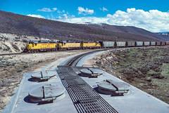Departing Phoston, UT with rear half of train, April 7, 1986 (blair.kooistra) Tags: unionpacific gp30 parkcity webercanyon ogden echo utah utahrailroads branchlinerailroads