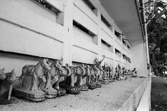 Miniature on Belief (Tah Sakuldee) Tags: blackandwhite miniature gods praying belief tradition wall thai cultural bangkok filmphotography elephant dace dall