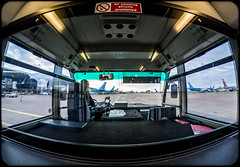 Bus Transfer. (CWhatPhotos) Tags: cwhatphotos camera photographs photograph planes runway pics pictures pic picture image images foto fotos photography artistic that have which contain with olympus four thirds 43 bus transfer manchester airport airplane fish eye fisheye view samyang interior