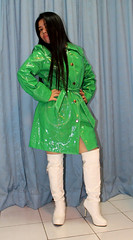 Mystic (johnerly03) Tags: erly philippines filipina filipino pinoy asian fashion green pvc raincoat rainwear sexy shiny fetish knee length white high heel boots long hair