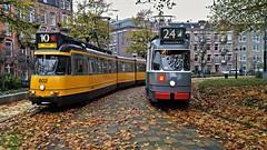 Twee en Drie (Peter ( phonepics only) Eijkman) Tags: amsterdam city tram transport trams tramtracks rail rails strassenbahn streetcars vintage reflectionsofthepast gvb ema museummaterieel museumstel nederland netherlands nederlandse noordholland holland