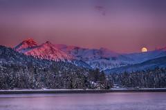 Sunset in Southeast Alaska, with Moon rise over Thunder Mountain. (Gillfoto) Tags: alaska moon juneau