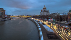 Blue hour in Moscow (pilot3ddd) Tags: moscow river embankment blue hour christ savior cathedral city lights olympus pen epl7 panasonic lumix g1232