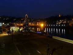 Looking across Brunel Square to Brandon Hill (chibeba) Tags: bristol winter 2016 december city england english urban southwest southwestengland britain greatbritain europe harbourside harbour bristolfloatingharbour christmas christmastree brunelsquare historic cobbles heritage twilight evening brandonhill cabottower reflections blue bluelight