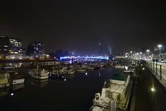 Quais sur Meuse et port des Yachts . (Fred Boni) Tags: tour des finances mémorial interalliès liège quais meuse nuit port yachts capitainerie