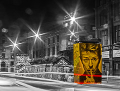 Night time Mr Bowie monochrome contrasts (PDKImages) Tags: lights longexposure manchesterstreetart manchesterart manchester cityscape artinthecity trails wall lightup bowie urban mural ghosts shadows ancoats ladies love alley alleyway streets