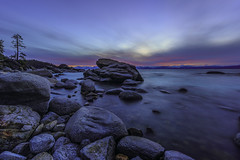 The dawn of time... (Simon Huynh) Tags: dawn sunset laketahoe rock tree sky