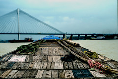 COLOR1 (Mohor Basak) Tags: kolkata ganges boat 2ndhooglybridge outdoor blue sky water wave wood texure india westbengal pricepghat color landscape life