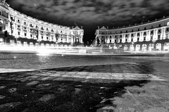 And you may ask yourself (Idreamofpies) Tags: piazza della republica rome italy monochrome black white architecture might sky columns road light stone cobbles fountain shadows pattern canon idreampiesphotography clouds cars traffic