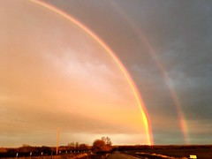 Christmas Double Rainbow- EXPLORED 12/26 (pam's pics-) Tags: nature rain rainstorm storm evening sunset rainbow natural iphone6s appleiphone ks kansas midwest us usa america pammorris pamspics cameraphone mobilephonephotographyrurualin country christmas picmonkey sky clouds