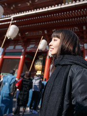 Young woman watching traditional parade in Japan (Apricot Cafe) Tags: img628655 asakusa canonef1635mmf28liiusm japan japaneseculture setsubun setsubune tokyo daytime girl happiness holiday joyful nostalgic outdoor parade people smile street sunlight traditional traditionaljapan walking winter woman