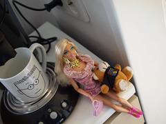 Barbie doll in the kitchen (Gamer-kun) Tags: kitchen coffee barbie blond teddybear glam barbiefashionistasswappinstyle