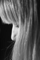 (Caemelie) Tags: portrait girl face hair nose 50mm gold blackwhite eyes fringe bn blonde canon550d