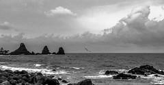Aci Castello (@Attom) Tags: bw lava mare nuvola bn mito roccia acqua castello bianco nero catania aci trezza 2014 siclia ulisse ionio scoglio imalavoglia