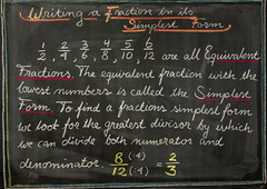 5th Grade: Math; Writing a Fraction in its Simplest Form (ArneKaiser) Tags: 5thgrade autoimport edited mrkaisersclass pineforestschool waldorf waldorfjourney chalk chalkboard fractions math flickr